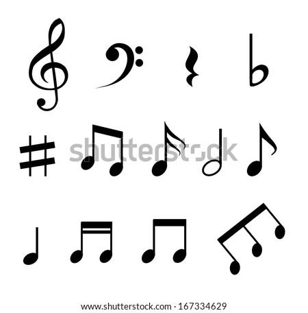 set music notes vector stock vector 167334629 shutterstock rh shutterstock com musical note vector music notes vector free