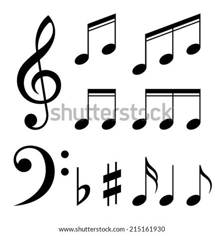 Set of music notes vector. Black and white silhouettes - stock vector