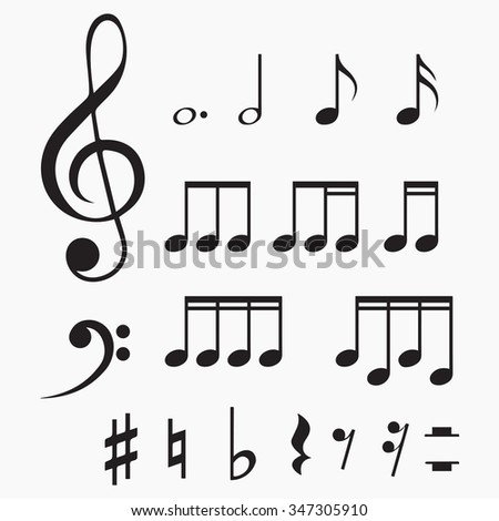 Set of music notes. Vector illustration. Isolated vector Illustration. Black on Gray background. EPS Illustration. - stock vector
