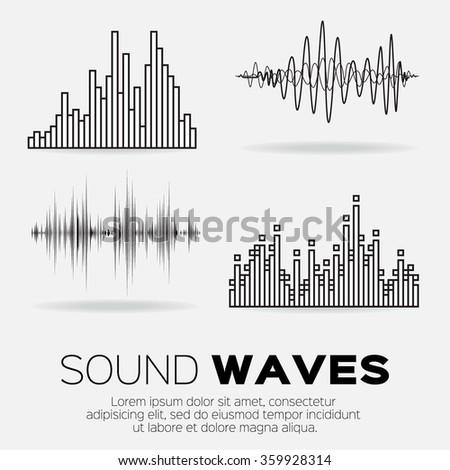 Set of 4 music sound waves. Audio sound equalizer technology, pulse musical. Vector illustration - stock vector