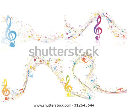 Set of Musical Design Elements From Music Staff With Treble Clef And Notes in Multicolor Style With Transparency. Elegant Creative Design With Shadows Isolated on White. Vector Illustration. - stock vector