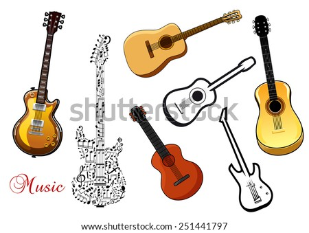 Set of musical guitar instruments in various shapes depicting acoustic and electric guitars and one formed of a pattern of music notes