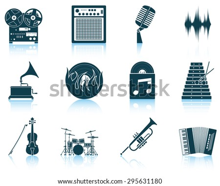 Set of musical icons. EPS 10 vector illustration without transparency. - stock vector
