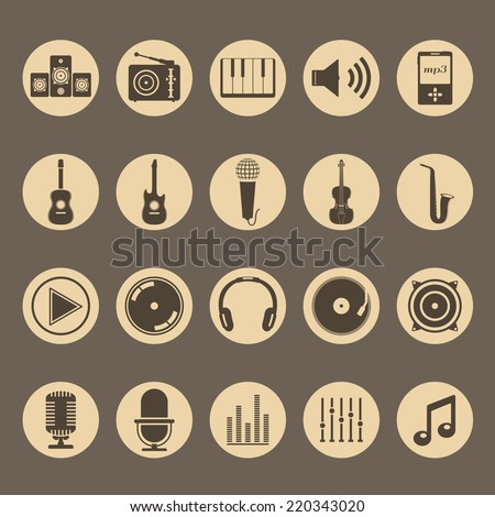 Set of musical icons, vector eps10 illustration - stock vector