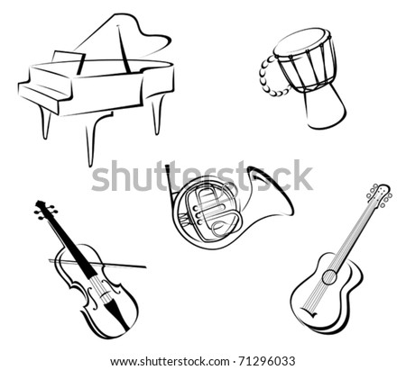 Set of musical instruments for music design - also as emblem or logo template. Jpeg version also available in gallery
