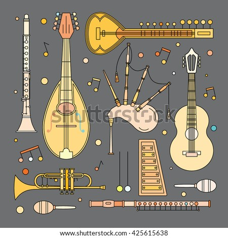 Set of musical instruments illustrations in modern line flat style. Mandolin, sitar, guitar, trumpet, maracas, clarinet, flute, xylophone, bagpipes and musical note signs. Vector, isolated. - stock vector