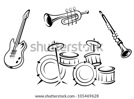 Set of musical instruments in retro style isolated on white background, such logo. Jpeg version also available in gallery - stock vector