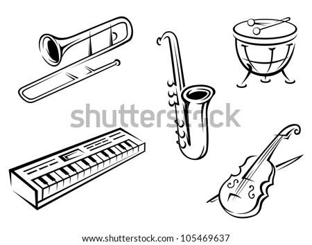 Set of musical instruments in silhouette style for entertainment design, such logo. Jpeg version also available in gallery