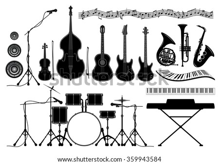 Set of musical instruments in vector - guitar, piano, trumpet, french horn, drum set, saxophone, violin, double bass, bow, microphone, speaker, music notes
