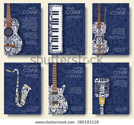Set of musical ornament illustration concept. Art music, book, poster, abstract, ottoman motifs, element. Vector decorative ethnic greeting card or invitation design background.