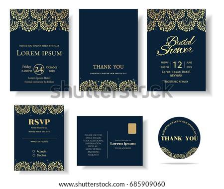 Set muslim wedding invitation cardtemplate greeting stock vector set of muslim wedding invitation cardtemplate greeting cardvintage decorative elementsctor stopboris Choice Image