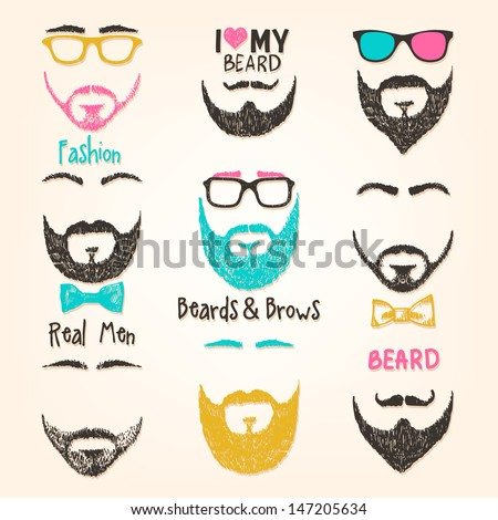 Set of mustache and beards - stock vector