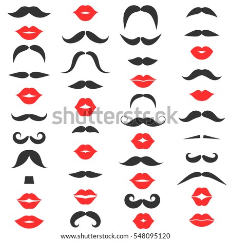 Set of mustache and women's red lips