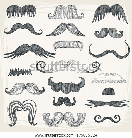 Set of Mustache Silhouettes - stock vector