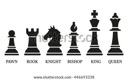 Set of named chess piece vector icons in black silhouettes on white showing the king queen rook bishop knight and pawn.