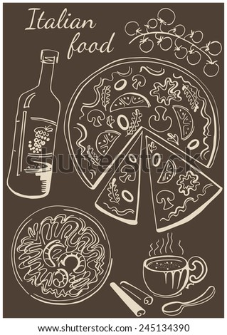 Set of national italian dishes. Pizza, pasta, wine and coffee. - stock vector
