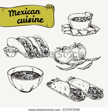 set of national mexican cuisine. hand painted vector illustration - stock vector