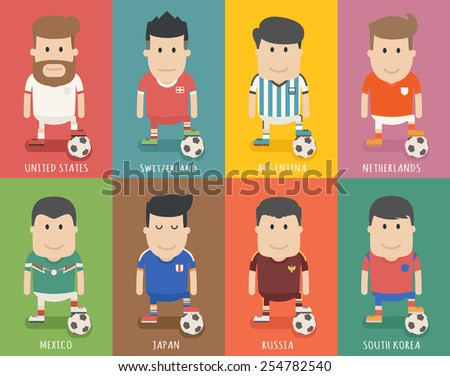 Set of national soccer team uniform , football player  , eps10 vector format - stock vector