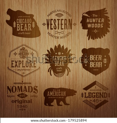 Set of native american labels - stock vector