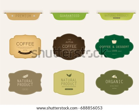 Set Natural Label Organic Label Green Stock Vector Hd Royalty Free