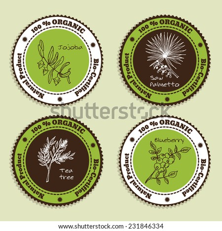 Set of Natural Organic Product badges. Collection of Herbs. Labels for Essential Oils and Natural Supplements. Saw palmetto, Tea tree, Blueberry, Jojoba