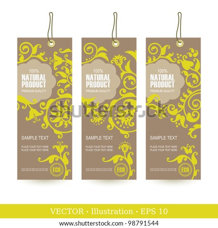 Set of Natural Premium Quality Labels - stock vector