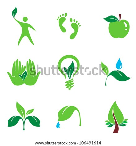 set of nature and organic vector icons, bio and environment concept - stock vector