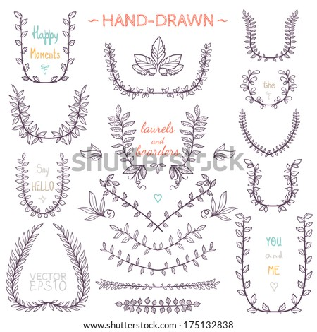 Set of nature elements. Hand-drawn branches and leaves. - stock vector