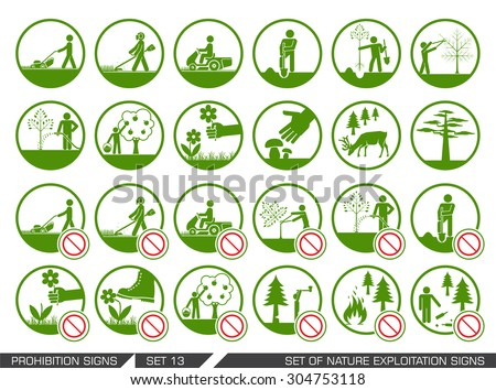 Set of nature exploitation signs. Set of signs that signify permitted and prohibited behavior in nature. Collection of forest and parks signs. Exploitation of nature. - stock vector