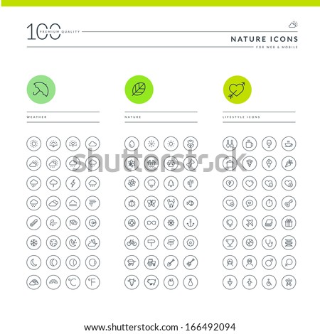 Set of nature icons for web and mobile. Icons for weather, nature and lifestyle.     - stock vector