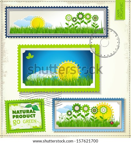 Set of nature post stamp - stock vector