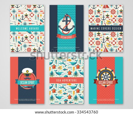 Set of Nautical and Marine Banners and Flyers. Card Template with Flat Sea Symbols. Ocean Theme. Vector Illustration. Marine Signs, Sealife, Whale. Nautical Badges and Labels. Captain Hat and Anchor. - stock vector