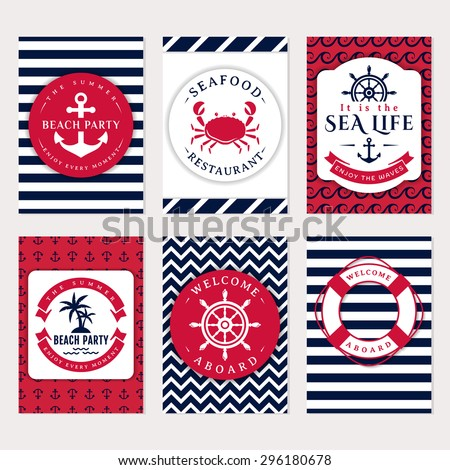 Set nautical marine banners invitations flyers stock vector set of nautical and marine banners and flyers elegant card templates in white navy pronofoot35fo Choice Image