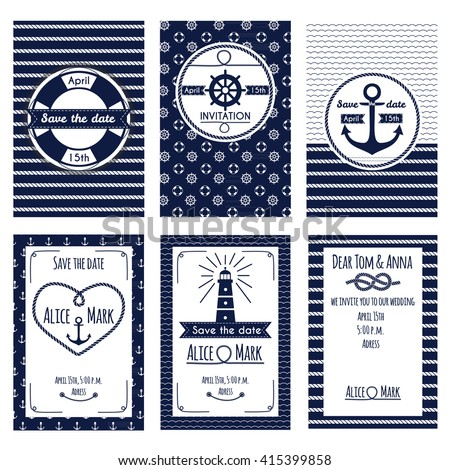 Set of nautical and marine wedding invitation. Templates in white and blue colors. Vector illustration - stock vector