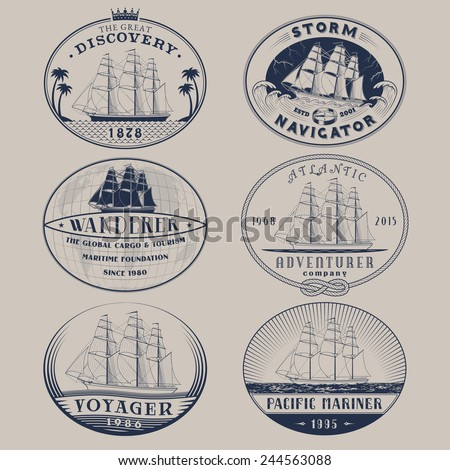 Set of nautical and maritime adventure vector labels.Logotype templates and badges with ships,waves and other design elements.Ocean and sea exploration,marine tourism and cargo transportation symbols - stock vector