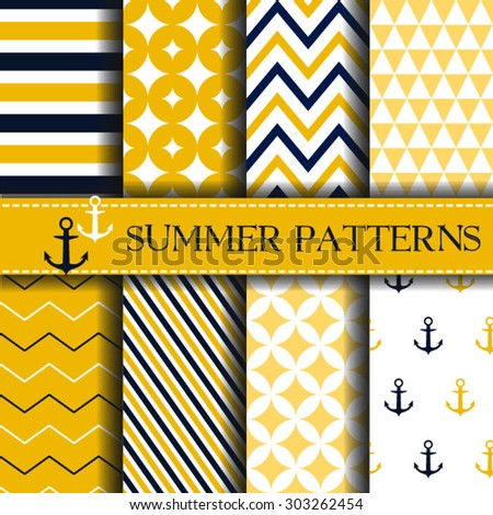 Set of nautical backgrounds. Summer pattern Sea, marine theme. Vector seamless patterns collection. - stock vector
