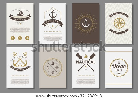 Set of  nautical brochures in vintage style .Vector eps10