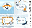 Set of 4 Nautical cards - stock