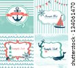 Set of 4 Nautical cards - stock photo