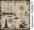 Set of nautical design elements - vector EPS 8. No trace. All images could be easy modified. - stock photo