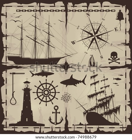 Set of nautical design elements - vector EPS 8. No trace. All images could be easy modified. - stock vector