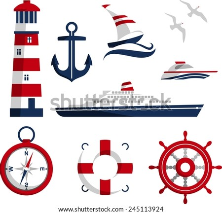 Set of nautical icons and design elements in flat style - stock vector