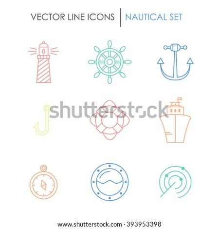 Set of nautical icons. Perfect for web-sites, mobile apps, banner, posters, infographic. Also can be used like logo for ship company. Made in line style. - stock vector