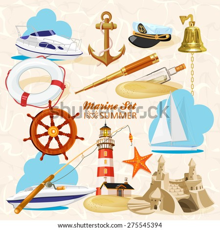 Set of nautical or naval elements with anchor, ship wheel, crossed tridents, lighthouse, bell, rod, starfish, telescope, lifeline, glass bottle with message for marine heraldry design - stock vector