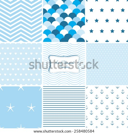 Set of nautical patterns - stock vector