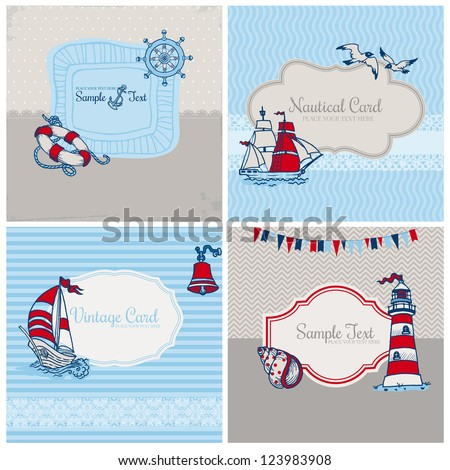 Set of Nautical Sea Cards - for scrapbook and design in vector - stock vector