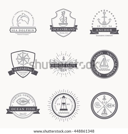 Set of nautical seafaring badges, labels or logos. Creative thin line design. Black on white vector company brand with sample text.  - stock vector