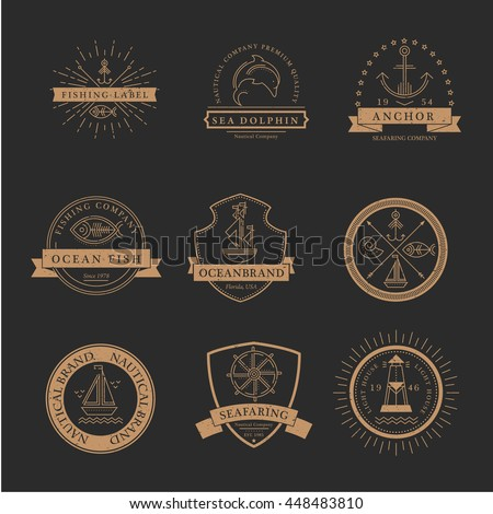 Set of nautical seafaring badges, labels or logos. Creative thin line design. Gold on black vector company brand with sample text. Textured (easy to remove) - stock vector