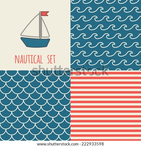Set of nautical seamless patterns. Icon of sailboat. Blue, cream, red colors. For cards, scrapbooks, invitations, printing on fabric etc. - stock vector