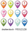 Set of navigation pins - stock vector